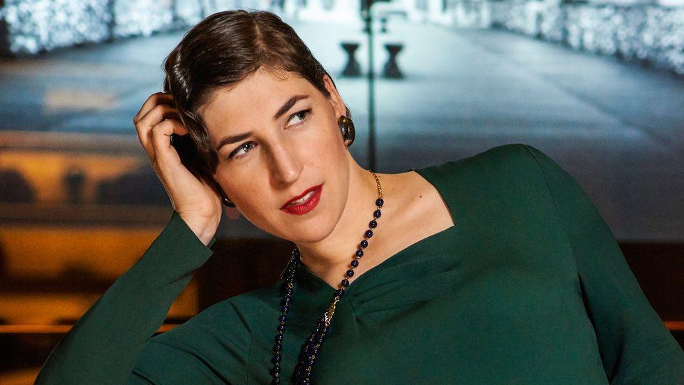 Mayim Bialik in green dress