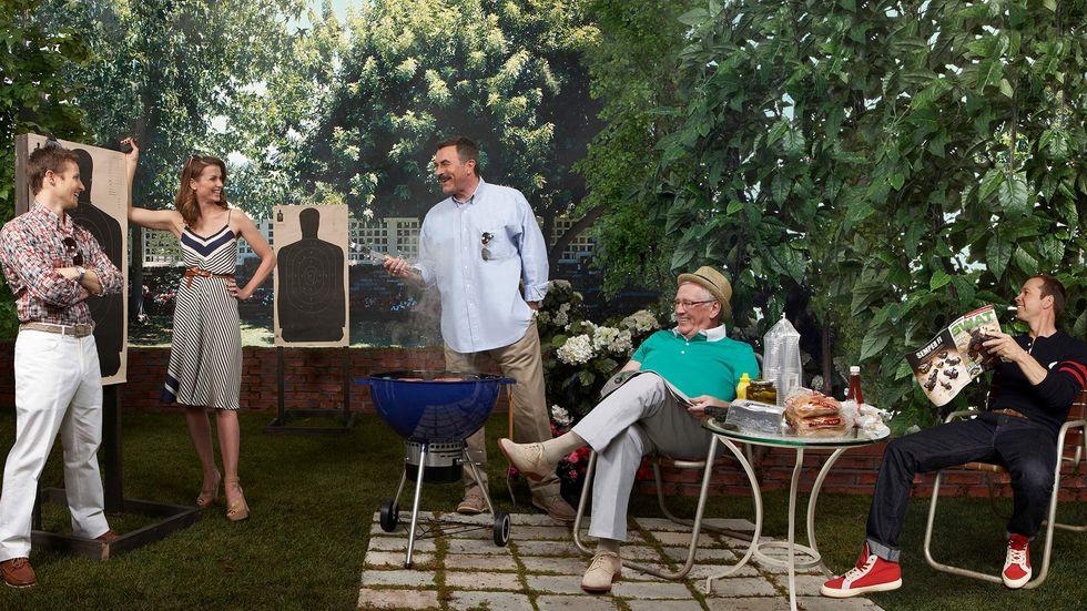 Will Estes Bridget Moynahan Tom Selleck Len Cariou Donnie Wahlberg at a backyard barbecue