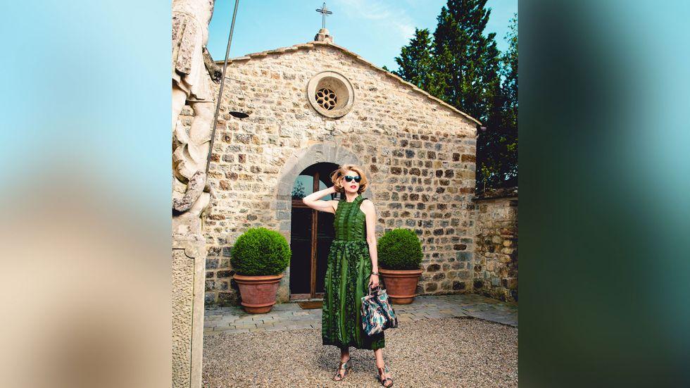 Christine Baranski in green dress
