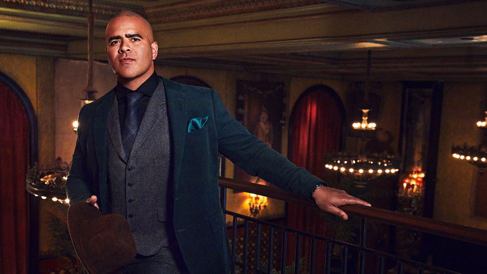 Chris Jackson in a green velvet suit
