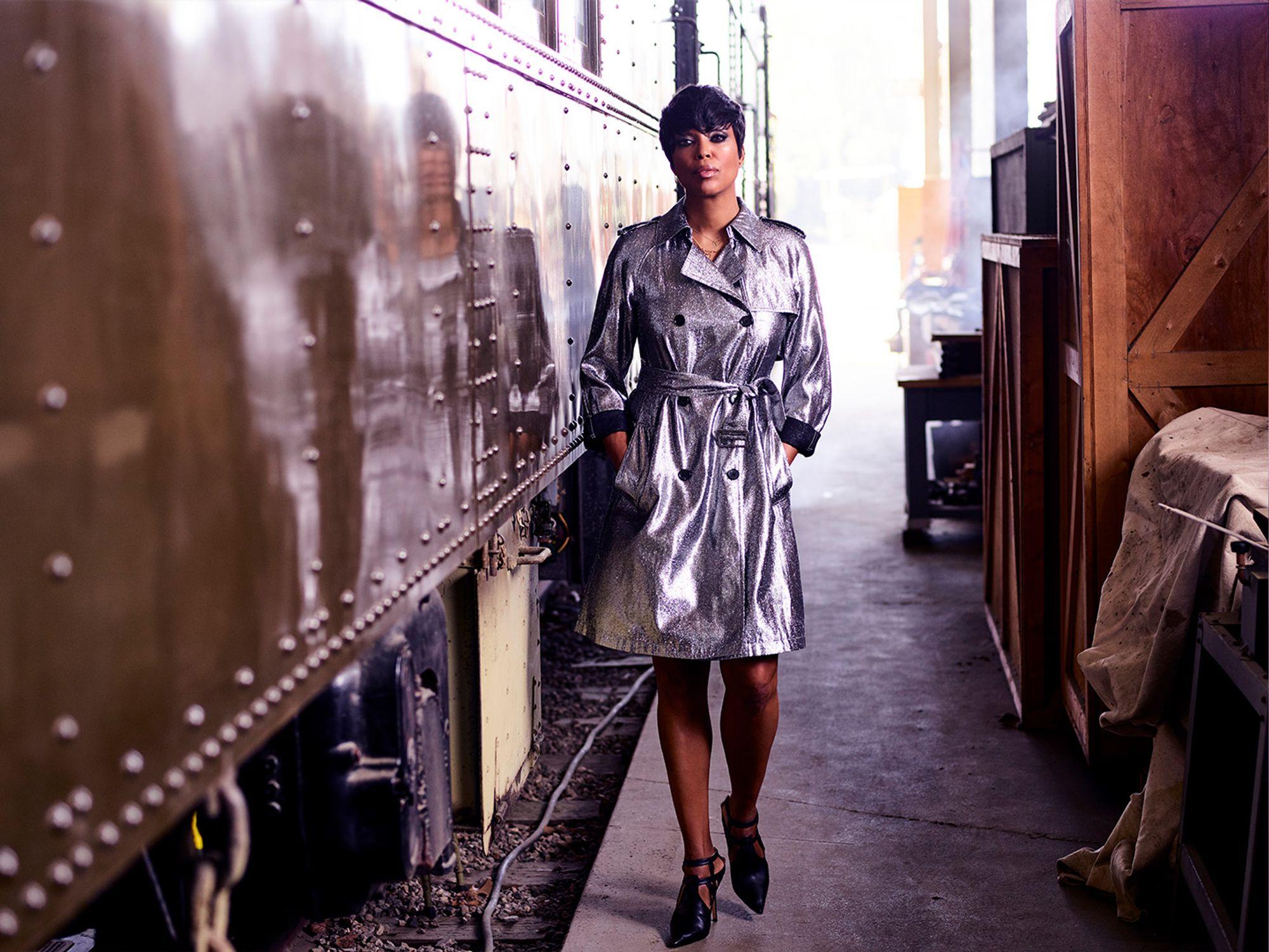 aisha tyler silver metallic trench coat