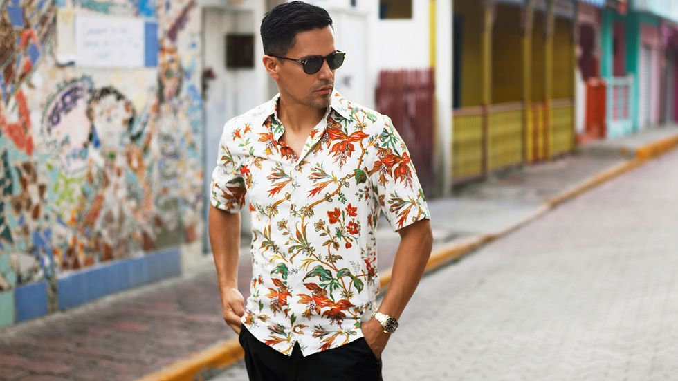 Jay Hernandez of Magnum PI in flowered shirt in Mexico