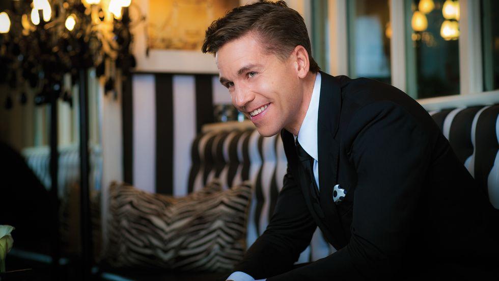 Brian Dietzen of NCIS in black suit