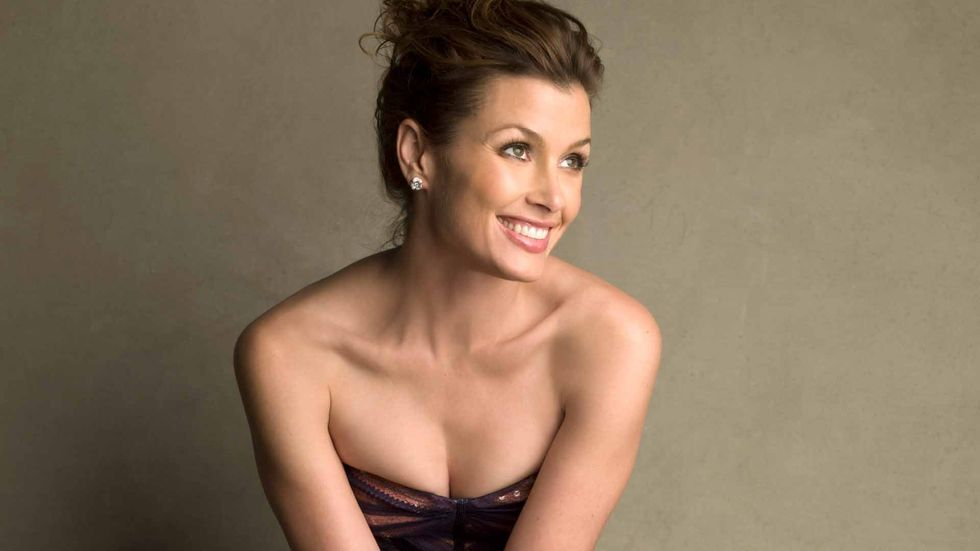 Bridget Moynahan of Blue Bloods in strapless dress with updo