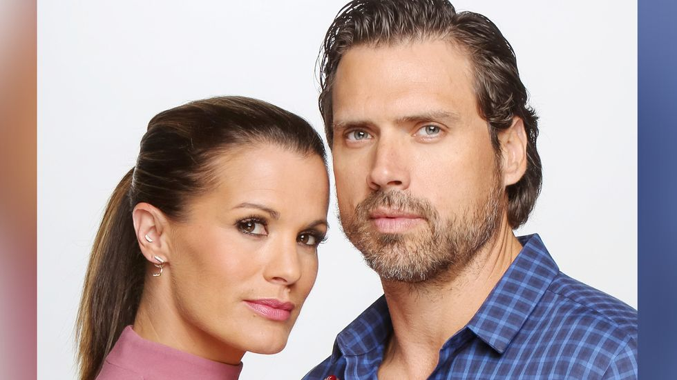 Melissa Claire Egan and a cast mate look piercingly at the camera.
