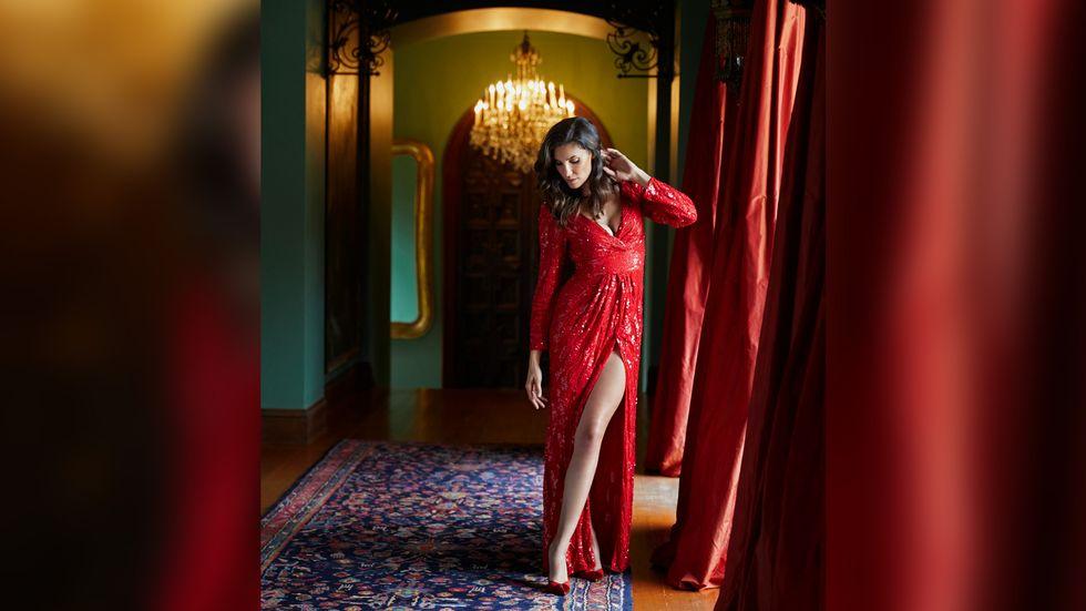 Daniela Ruah in red V neck sequined dress