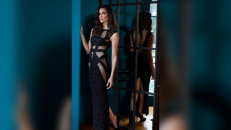 Daniela Ruah of NCIS Los Angeles in black bandage gown