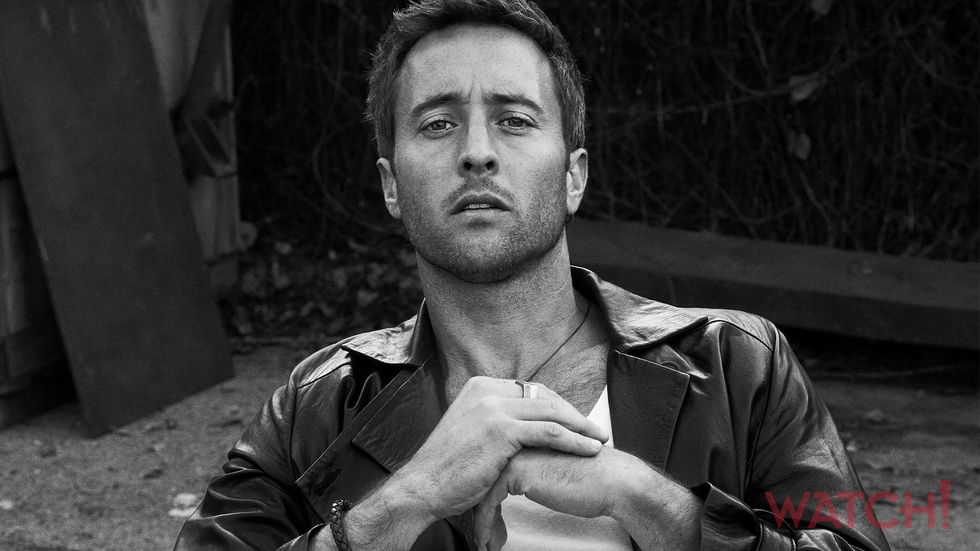 Alex OLoughlin of Hawaii Five 0 in motorcycle jacket and white t shirt