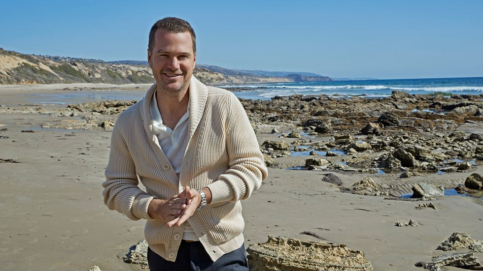 Chris O'Donnell wears a sweater on a rocky beach.
