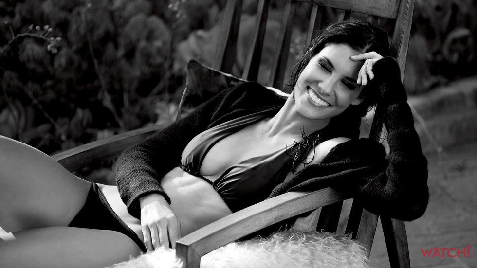 Daniela Ruah of NCIS Los Angeles in black bikini and sweater