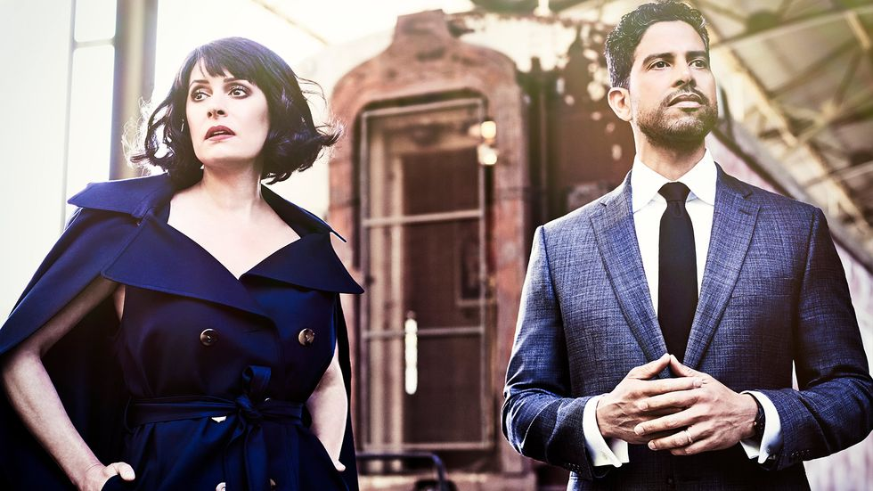 paget brewster royal blue trench dress and adam rodriguez blue plaid suit