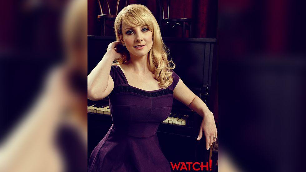 Melissa Rauch wearing purple dress