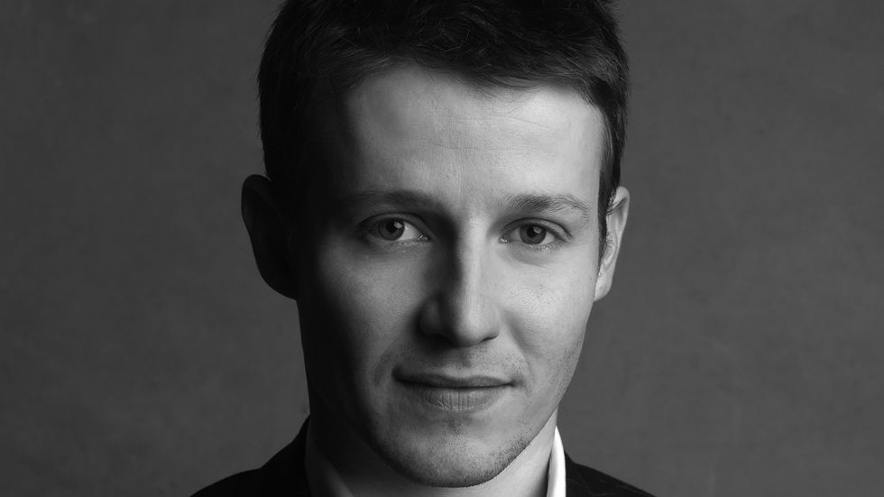 Will Estes close up in black and white
