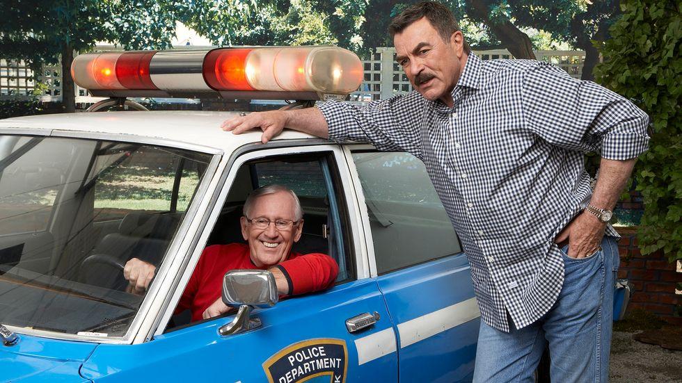 Len Cariou and Tom Selleck police car