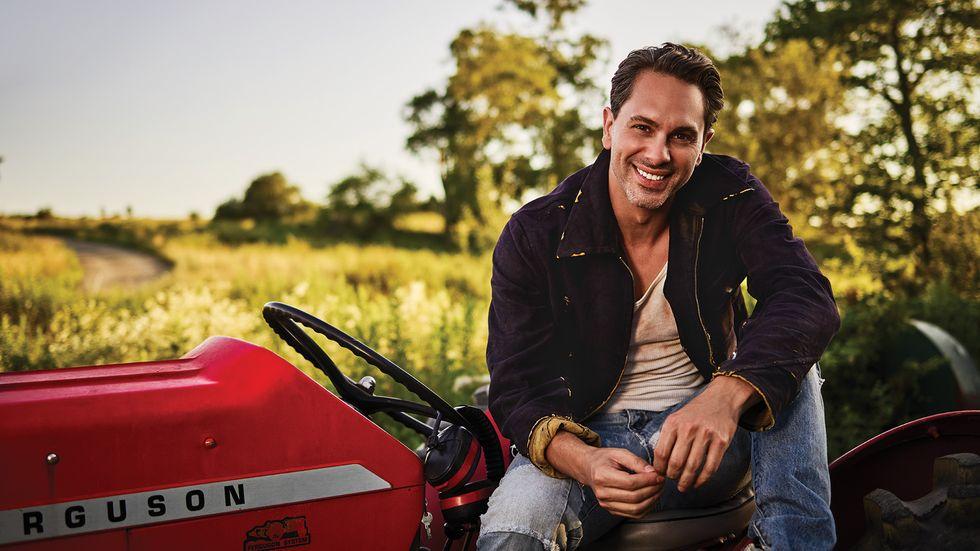 Thomas Sadoski on red tractor