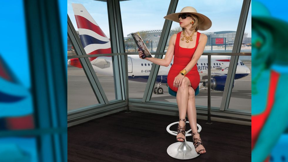 Christine Baranski relaxing in airport lounge