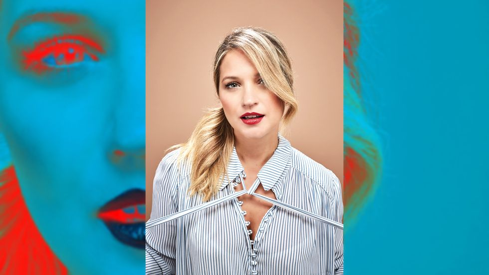 Vanessa Ray in bold red lip