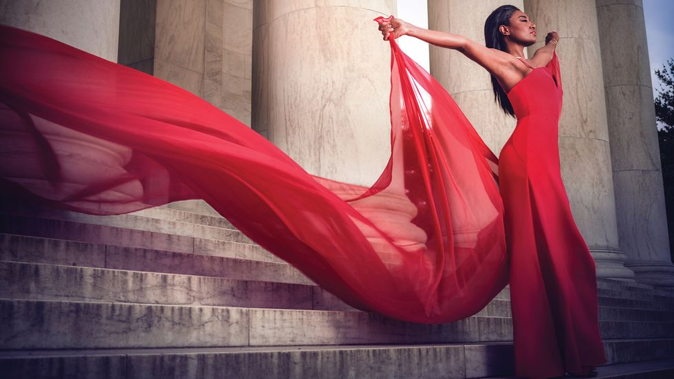 Patina Miller in dramatic red gown