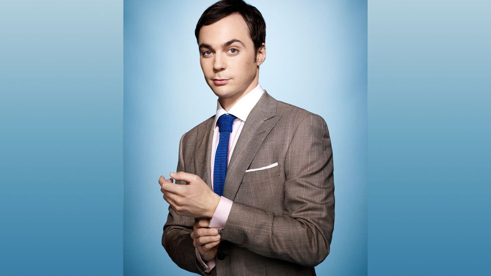Jim Parsons of The Big Bang Theory in jacket and tie with french cuff shirt