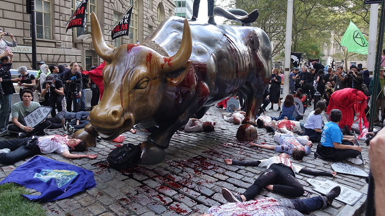 Extinction Rebellion Stages 'Die-In' at Iconic Wall Street Bull Statue