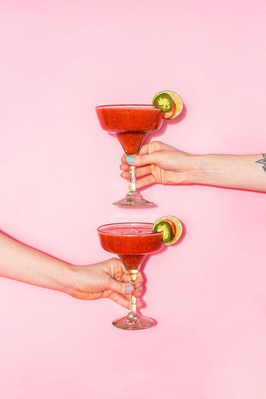 Valentine's Day Strawberry Jalape\u00f1o Margaritas Recipe