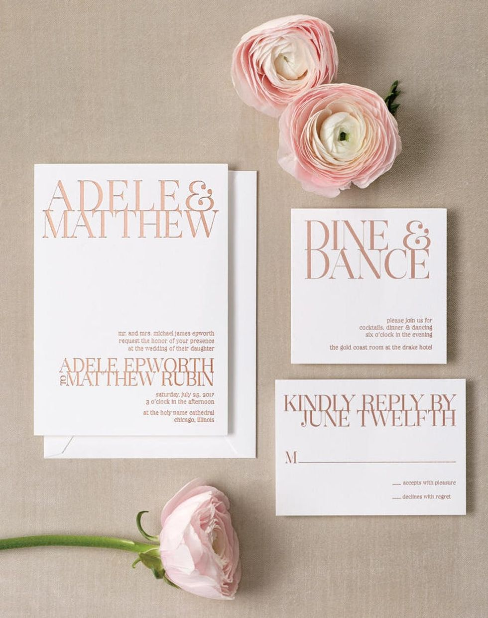 15 Super Chic Minimalist Wedding Invites - Brit + Co