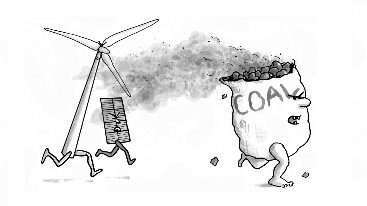 Illustration of a wind turbine and solar panel chasing a bag of coal