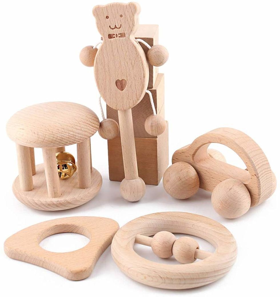 Wooden Toys Kids Newborn Montessori Early Educational Shaking Hand Bell Z