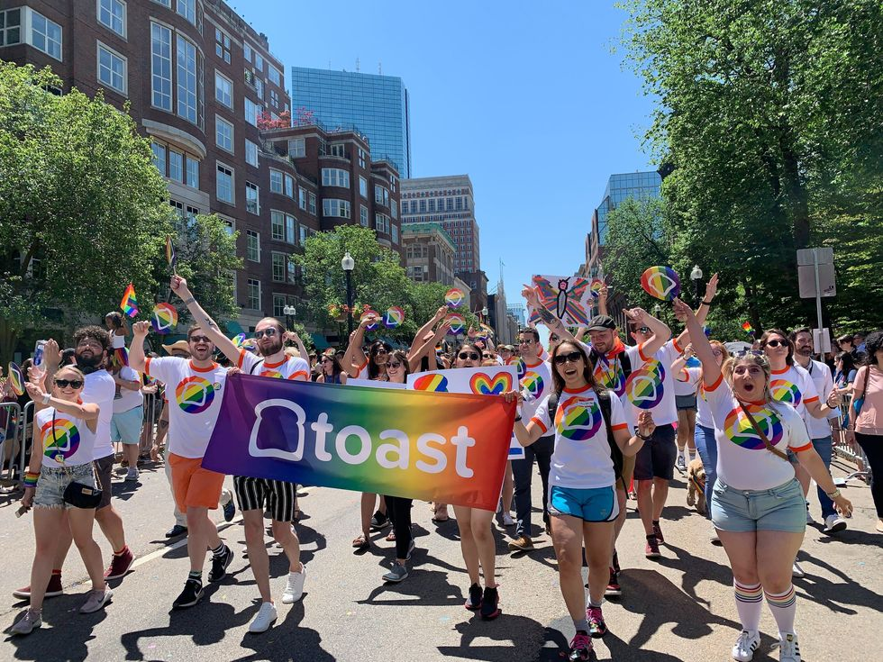Toast employees take part in the Boston Pride parade.