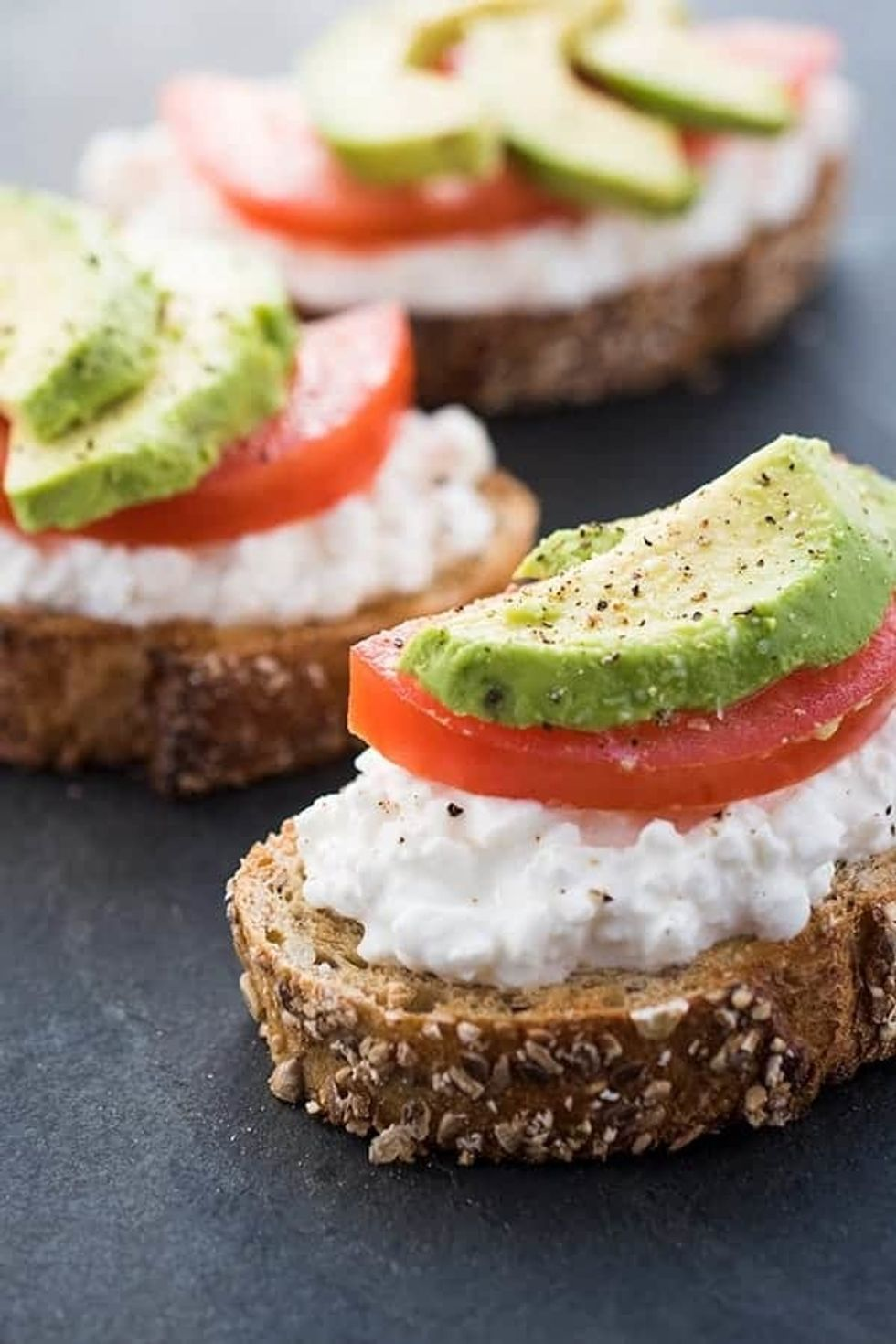 Avocado Toast with Cottage Cheese + Tomatoes