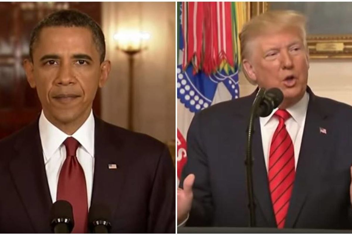 A viral mashup of Obama and Trump announcing the deaths of terrorists is both funny and sad