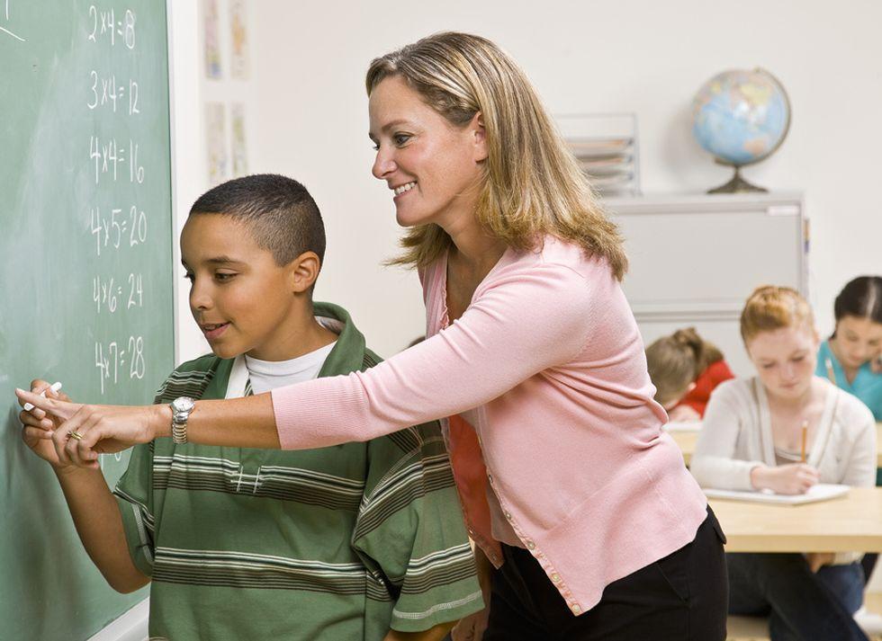 Teacher displays her teaching philosophy in the classroom