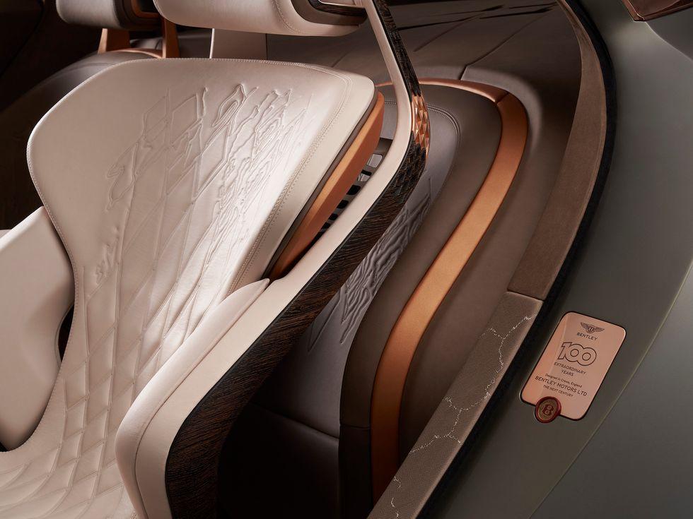 Bentley EXP 100 GT concept car 2020 interior embroidery