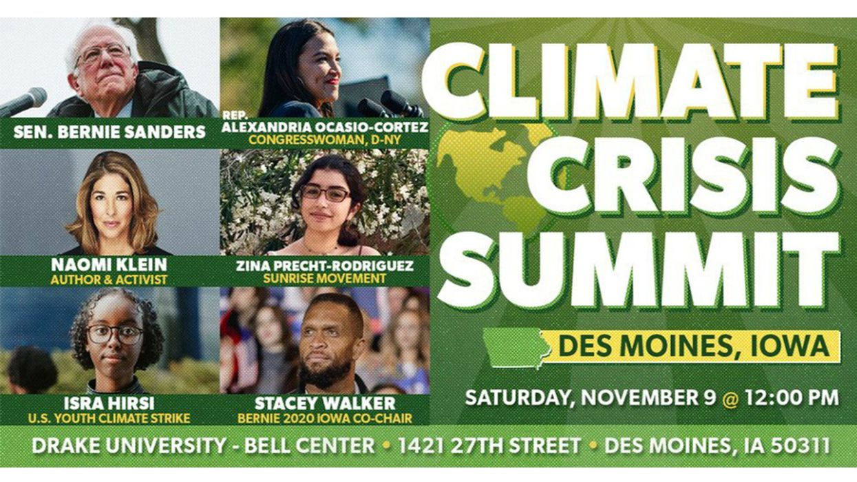 Naomi Klein and Youth Environmental Leaders to Join Bernie Sanders and AOC for Climate Crisis Summit in Iowa
