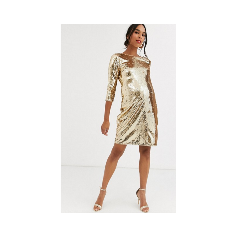 TFNC Maternity sequin mini bodycon dress in liquid gold