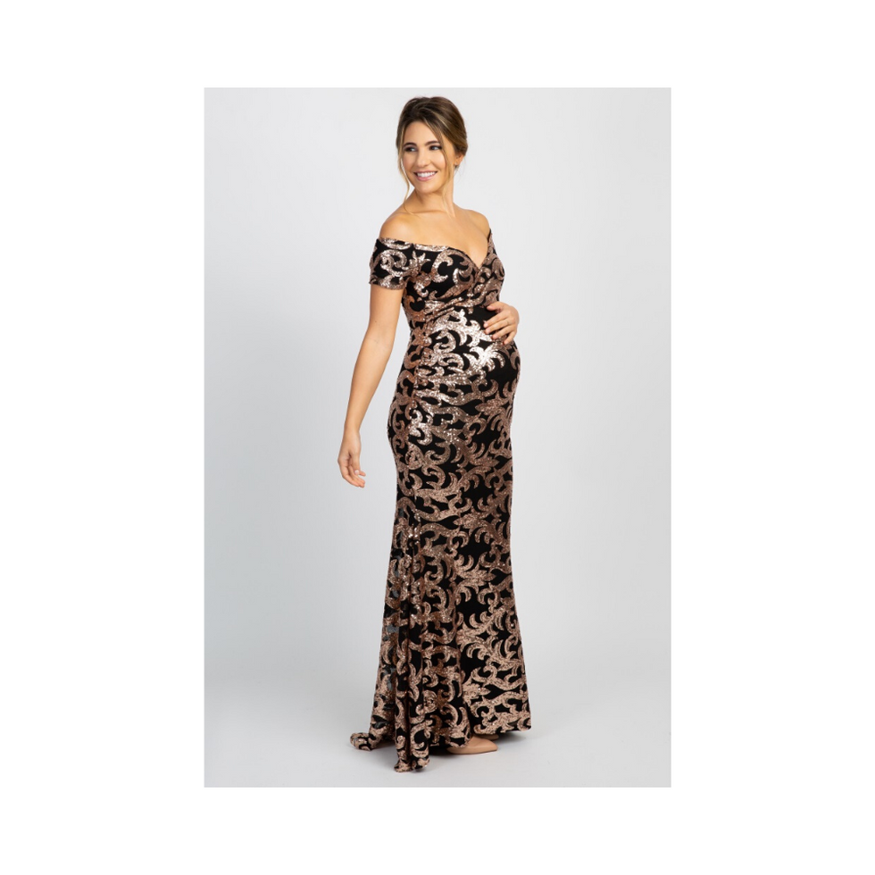 Black Sequin Off Shoulder Wrap Maternity Photoshoot Gown/Dress