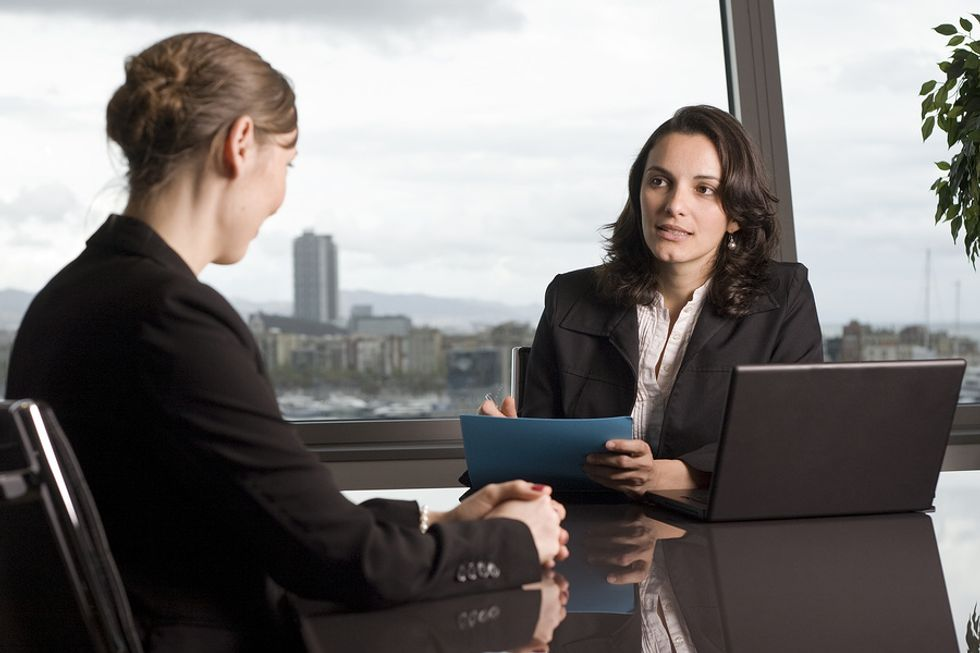 HR manager has a long conversation with a potential employee.