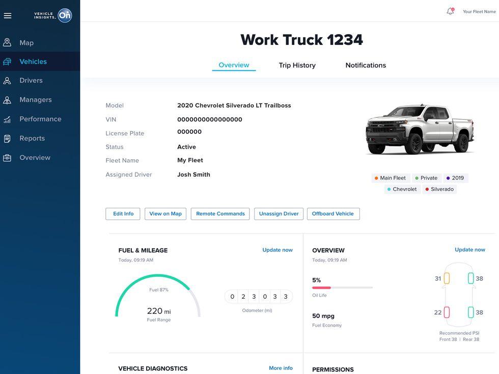 OnStar Insights fleet management software GMC Chevrolet Cadillac