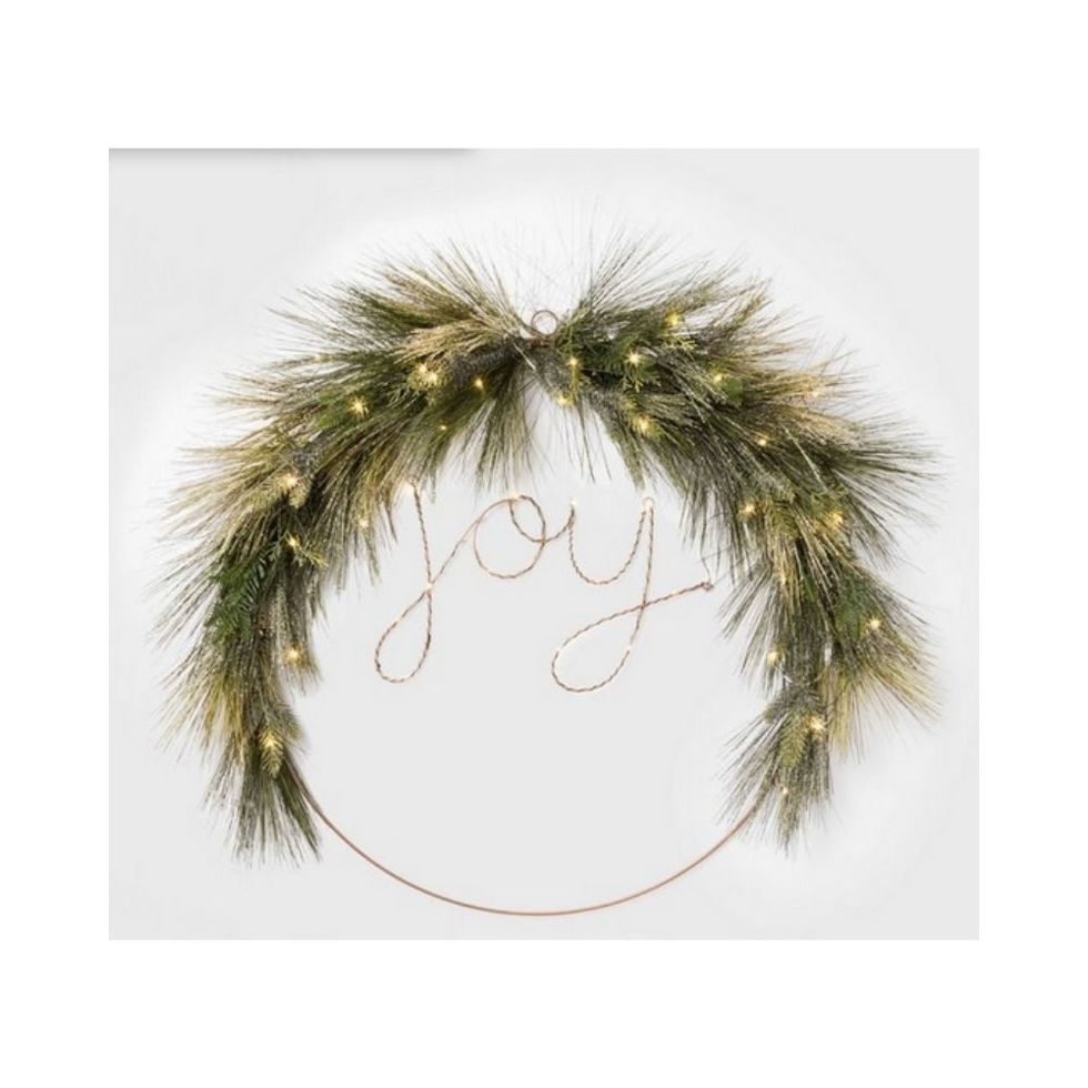 Joy wire Christmas wreath