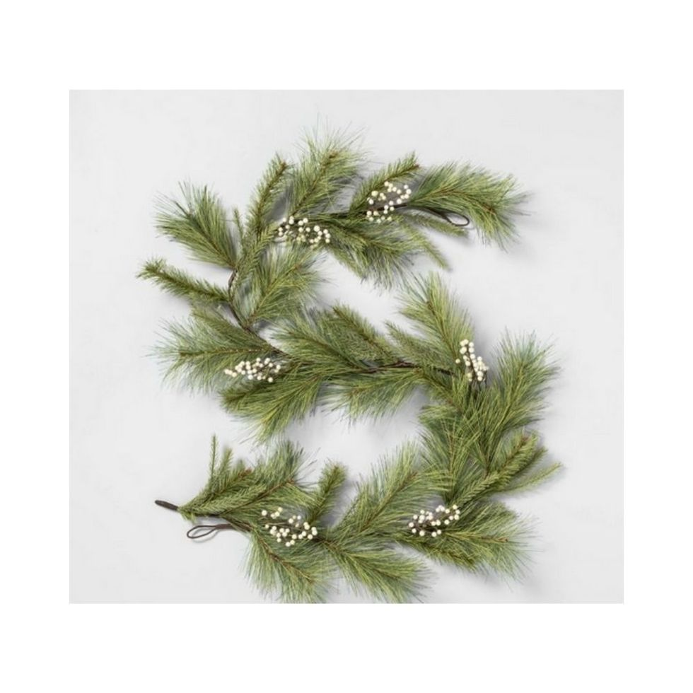 Faux white pine garland