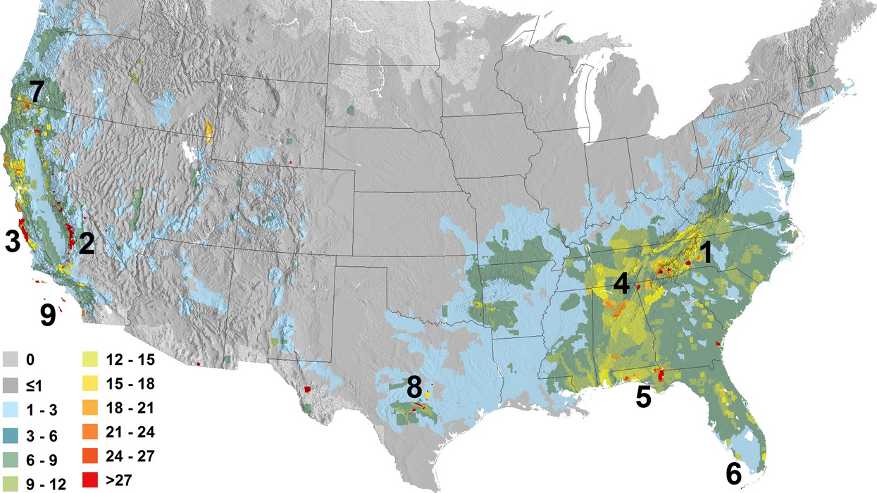 Nine recommended priority areas for biodiversity protection in the continental United States.