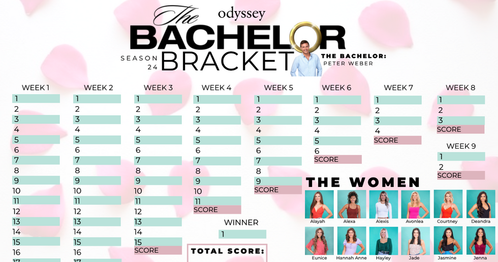 This 'The Bachelor' Bracket Is Everything You Need For The Season 24 January Premiere