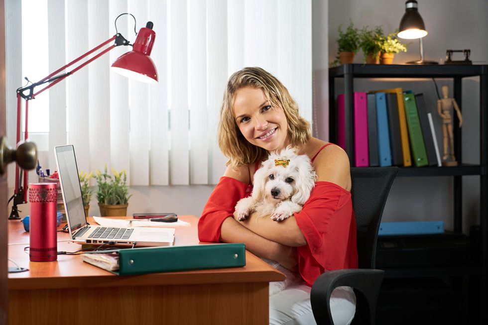 Happy young woman sitting at her desk holding her small dog.
