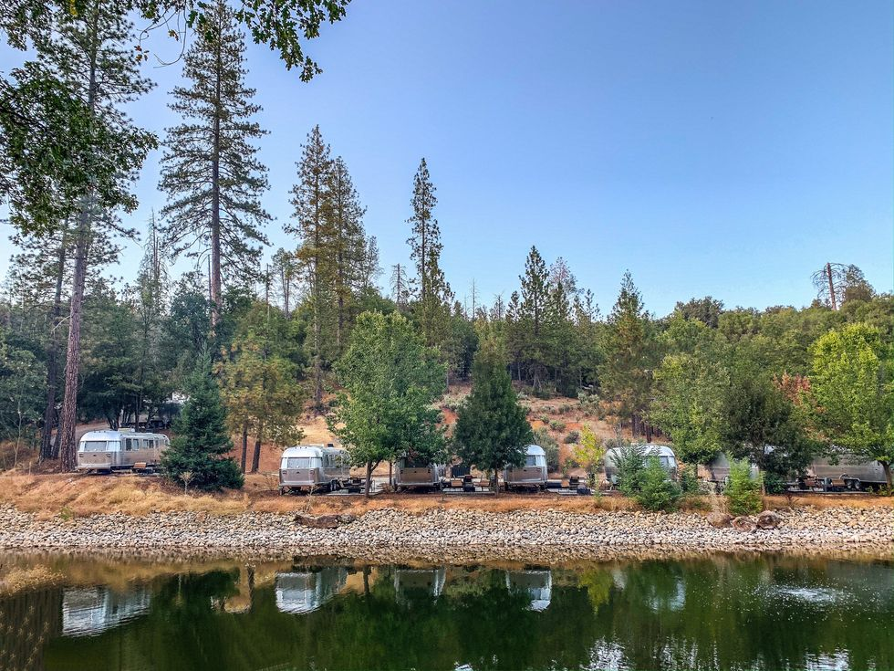 Autocamp Yosemite pond Airstream