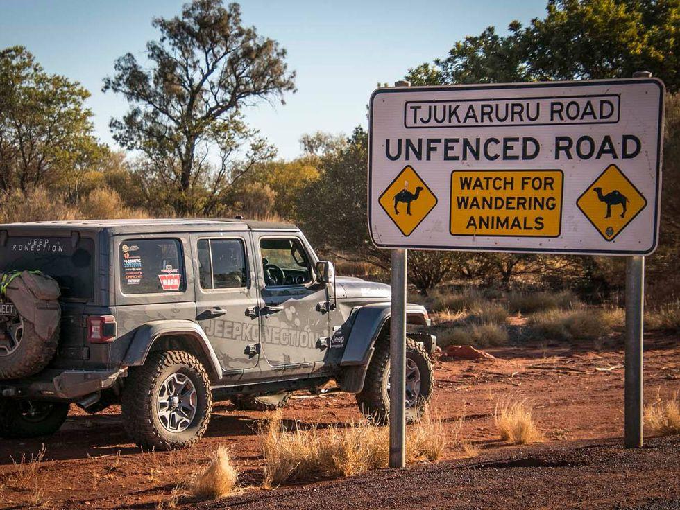Tjukarusu Road sign Jeep East West Expedition