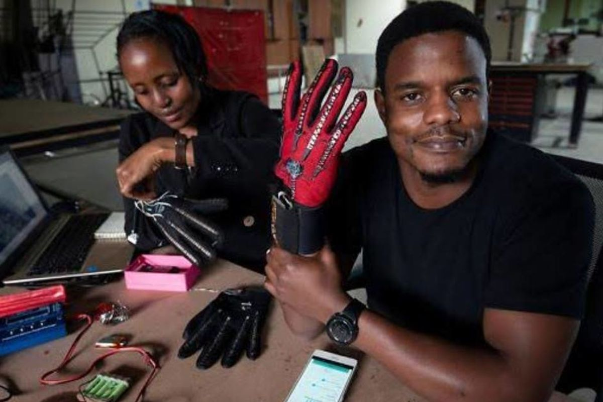 A Kenyan inventor's niece was born deaf so he made a glove that turns sign language into speech