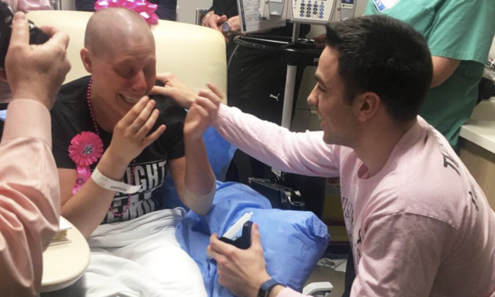 Boyfriend surprises his girlfriend with a wedding proposal on her last day of chemo - Upworthy