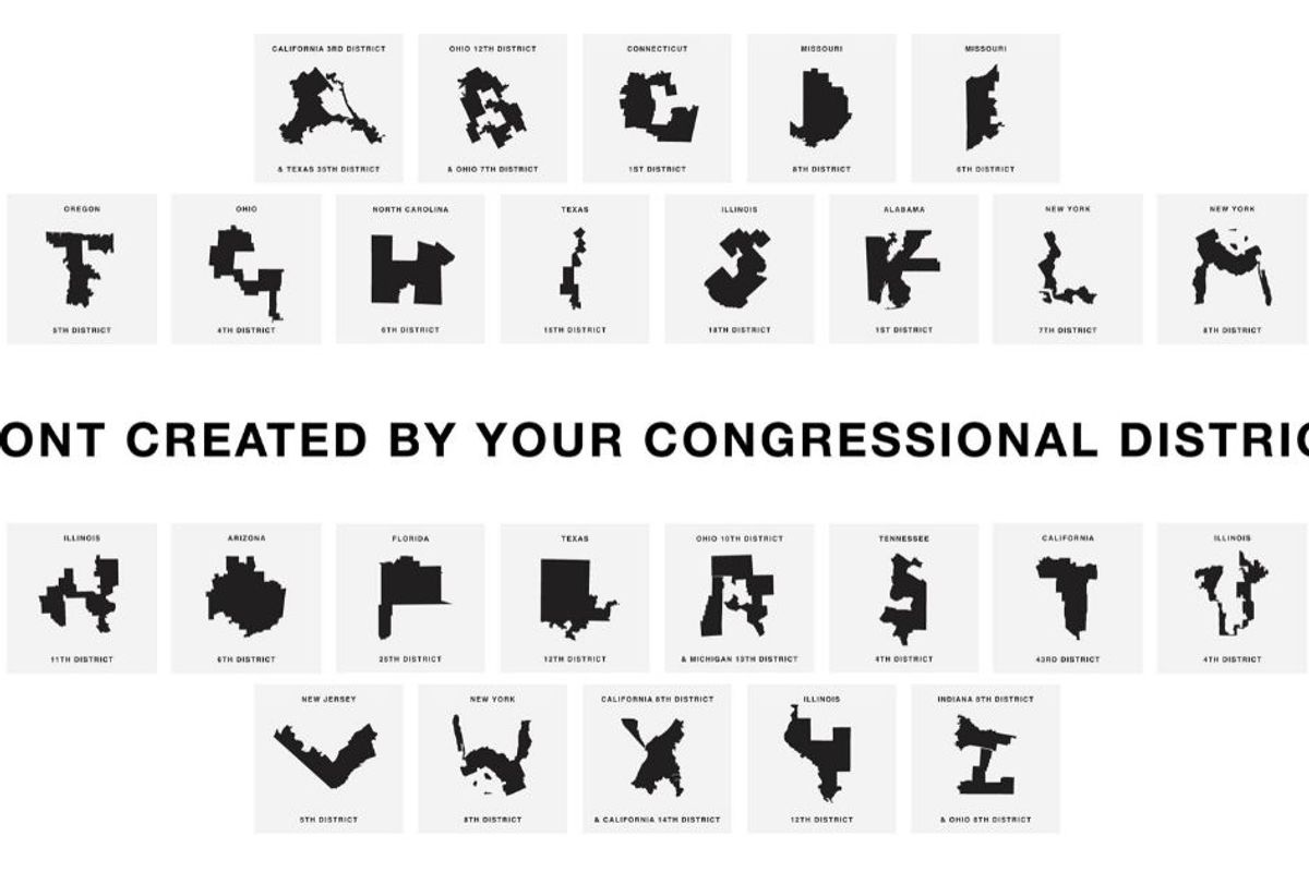 Font made out of gerrymandered congressional districts shows how effed up our system is