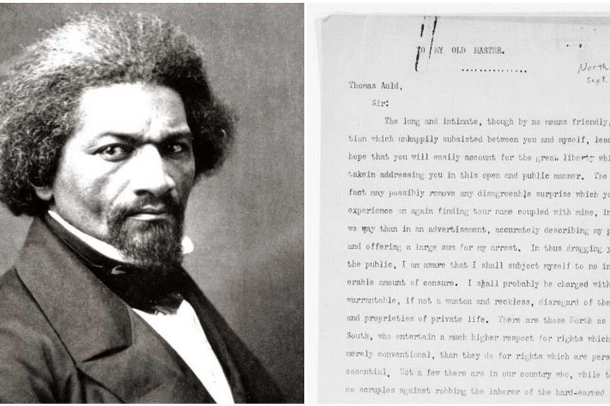 Ten years after running away, Frederick Douglas sent a beautiful and brutal letter to his old master
