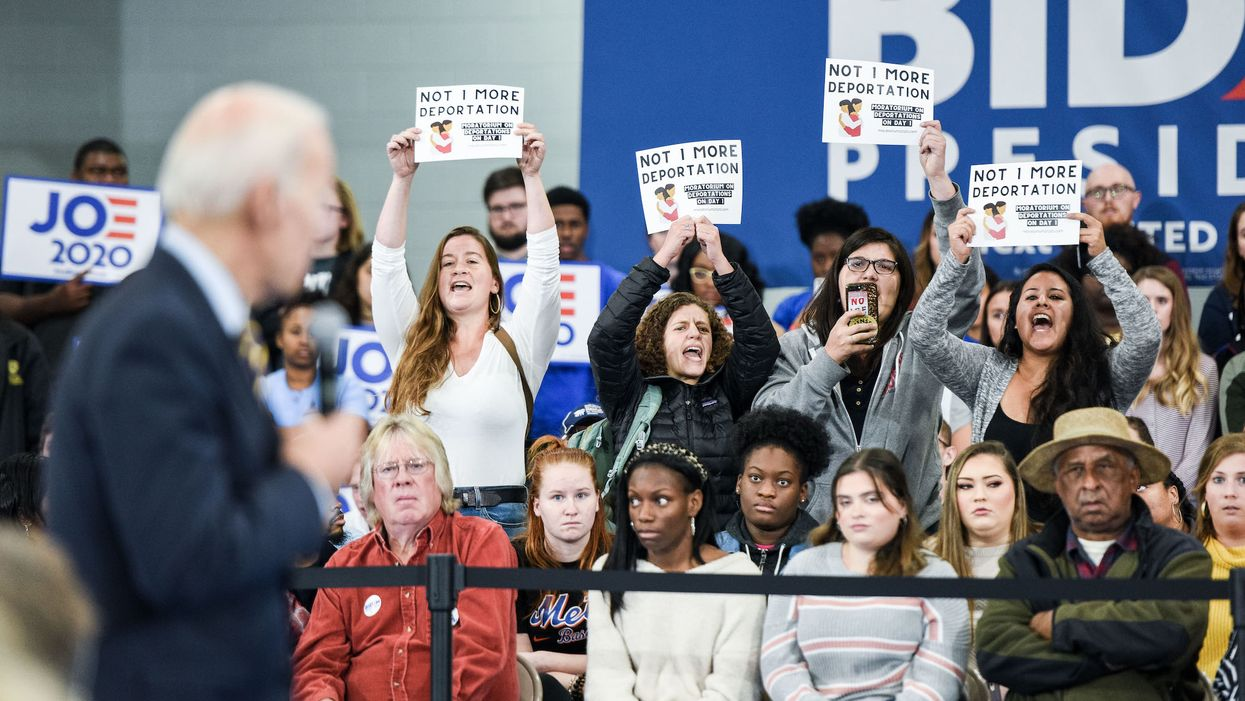 Joe Biden gets into a tense face-to-face argument with open borders advocate while protesters disrupt campaign town hall